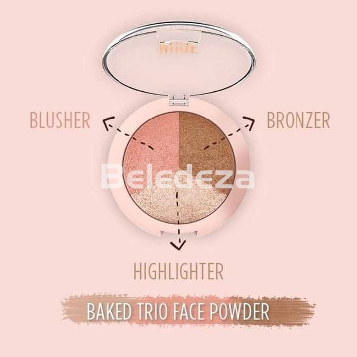 NUDE LOOK BAKED TRIO FACE POWDER Polvo facial Trio Colorete/ Bronceador/ Iluminador - Imagen 1