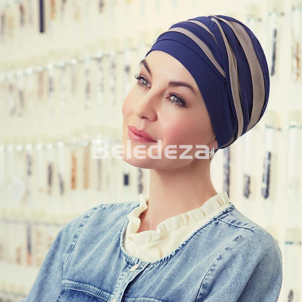 SHANTI TURBAN MIXED COLOURS NIGHT BLUE/DARK SAND Turbante Shanti Mezcla Colores Azul/ Arena - Imagen 1